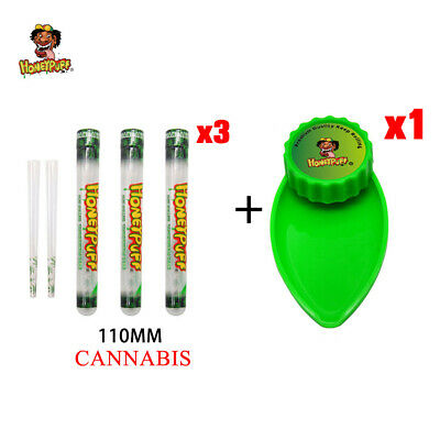 HONEYPUFF 1 X Green Plastic Herb Grinder Tray+3X 110MM Flavored Pre Rolled Cones