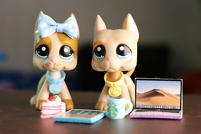 2 Lot Littlest Pet Shop LPS Great Dane Dog Puppy Toy With Lot of Accessories