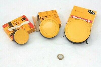3 x nic1960s Kodachrome dble 8mm & 16mm films,sealed TINS, 25,50 &100' CANISTERS