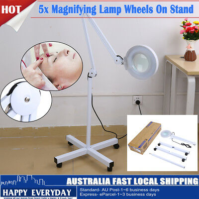 Magnifying Lamp Glass Lens Round Head Light 5x Magnifier Wheels On Stand Beauty