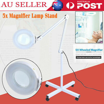 5X Magnifying Lamp Glass Lens Magnifier Round Head On Stand 5D Beauty Salon New