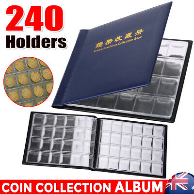 240 Holders Coin Collection Album Book Sleeves Money Penny Pocket Storage Folder