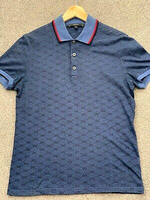 Navy Blue Genuine Gucci mens polo t shirt top Short Sleeve Button