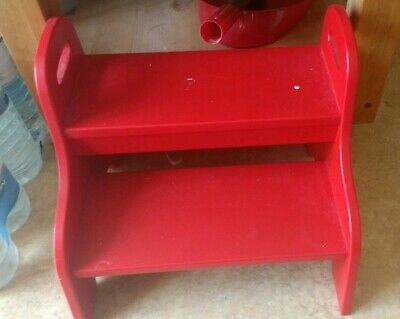 Red Wooden Children's IKEA Two Step Stool Has Paint Marks