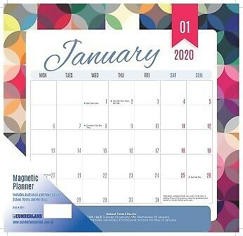 Calendar 2020 Cumberland 12 Month Magnetic Wall Red Multi 325x315mm 4016