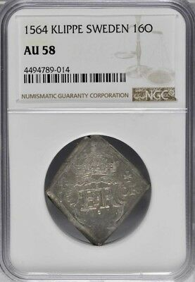 1564 Sweden Klippe 16 Ore, NGC AU 58, AAH-45, Type II, 25mm X 25mm, Rare Date