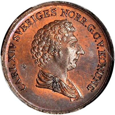 1836 Sweden 2/3 Skilling, PCGS MS 64+ RB, Sole Finest @ pcgs