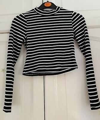 Girls Black & White Striped Top, age 10 to 11 years