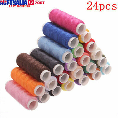 24~120x 24 Colors 200m Spools Cotton Thread Reel Cord Machine/Hand Sewing Crafts