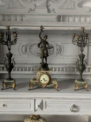 19th Century French Green Marble and Bronzed Spelter Mantel Clock  Guillemin