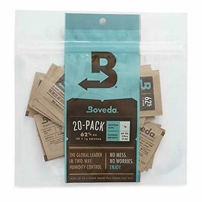 Boveda 62% RH 1 Gram, Patented 2-Way Humidity Control, (1) 20-Pack, Unwrapped Bo