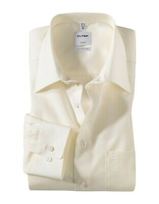 Mens Shirt Olymp Luxor Comfort Fit Non Iron Pure Cotton Long Sleeve Ivory Point