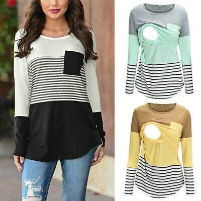 Women Lady Maternity Long Sleeve Striped Nursing Tops T-shirt For Breastfeeding
