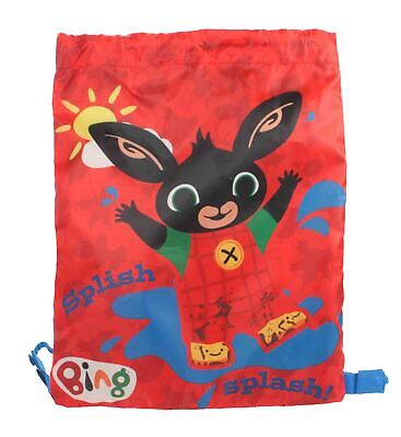 CBeebies Bing Muddy Drawstring Sports Trainer Tote Gym PE Bag Red Back to School