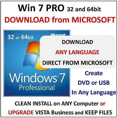 RETAIL Key - Win 7 PRO - 32/64bit - Download from Microsoft - ALL LANGUAGES