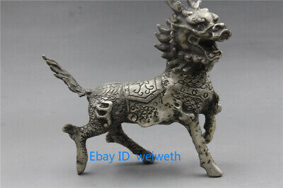 Old Asian Chinese Tibet Silver Hand Carved Dragon Beast Kirin Statue