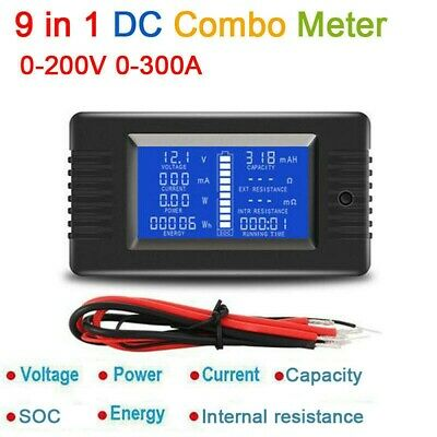 LCD Display DC 0-200V 300A Battery Monitor volt Ammeter Current Power Capacity