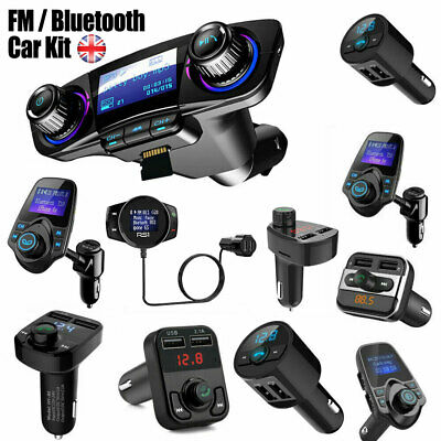 Car Handsfree Bluetooth FM Transmitter Adapter Kit USB Charger AUX MP3 Player UK