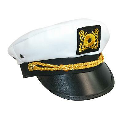 New CTM Kids' Cotton White Nautical Boating Captains Cap