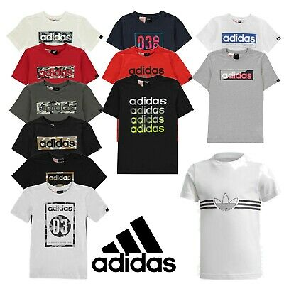 Boys Adidas T Shirts Kids Tops Junior Short Sleeve Tee Age 8 9 10 11 12 13 14 -