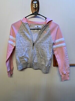Girls Abercrombie Size 8/10 Pink And Grey Zip Up Hoodie-PreOwned-No Flaws