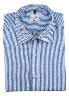 Mens Shirt Olymp Level 5 Slim Fit Easycare Cotton Long Sleeve Blue Stripe