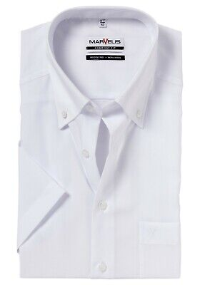 "Mens Marvelis Shirt 15"" Comfort Fit Cotton Short Sleeve White Poplin Button-Down"