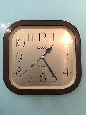 Vintage Bulova Quartz Wall Clock - 60's, 70's - Made in Japan, Brown/Gold, VGC