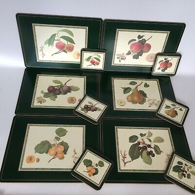 Pimpernel Hooker's Fruits 6 Place Mats And Matching Coasters Set