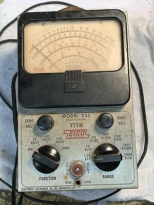 Eico Model 232 Peak to Peak VTVM Meter Voltmeter Ohmmeter NO BATTERY Untested