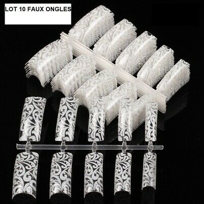 Faux Ongles Dentelle Blanche Capsules Tips A Coller Nail Art Manucure Man865