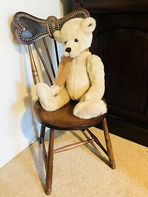 Antique Victorian Children's Child's Chair Bear Doll Display Wooden Leather