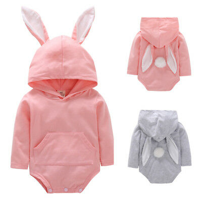 Toddler Infant Baby Girls Boys Cartoon Rabbit Ear Hooded Romper Jumpsuit Outfits