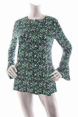 NEW Michael Kors Women Bell Sleeve Lace Up Front Stretch Jersey Top Multi S