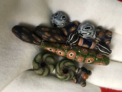 Set Of 13 Phoenician Mixed Shape  Beads Unusual Items Of Historical Jewellery.