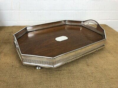 "Antique Edwardian Oak Wood Silver Plate Gallery 20"" Serving Tray - Walker & Hall"