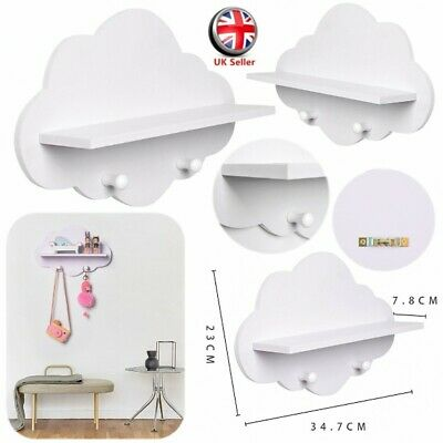 Cloud Shape Wood Floating Shelf Wall Storage Display Board Cloak Hook Key Rack