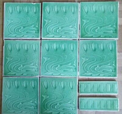 "Art Nouveau tiles 6"" x 6"" Stylised Tulip in Green x 8, plus 2 border tiles"