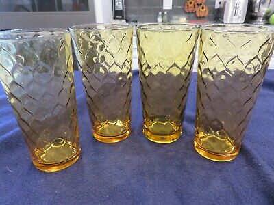 4 Vintage Anchor Hocking Honey Gold Amber Diamond Honeycomb Optic Tumblers