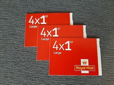 Royal Mail Set of 3 Books of 4 1st Class Large Letter Stamps Self Adhesive *NEW*