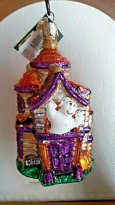 Old World Christmas Halloween Glass Ornament Haunted House Merck Owc Nwt 2004