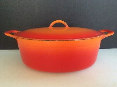 Descoware, Belgum Flame Orange Enameled Cast Iron Oval Dutch Oven 3-C 12 FALL