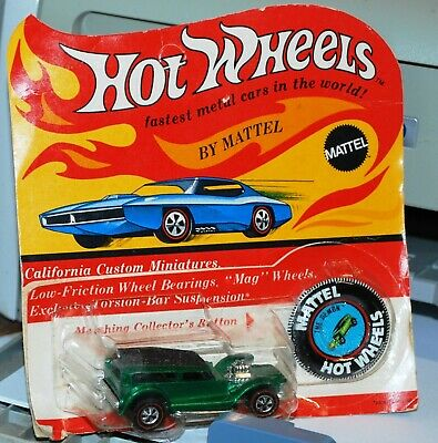 "Hot Wheels Redline  ""The Demon"" Green Hong Kong 1969 in loose blister"