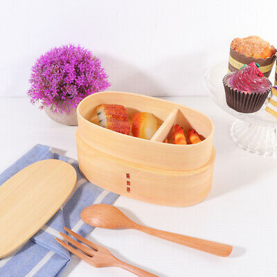 1 pc Lunch Box Japanese Style Wooden Double-layer Food Carrier for Office School