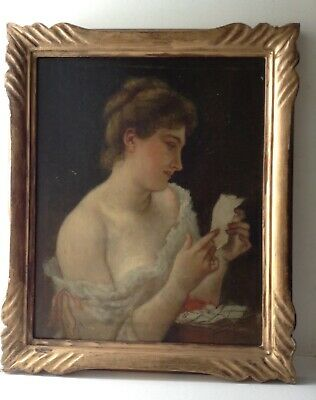 Antique Oil French Painting 19th C Portrait Beautiful Woman to the Love Letter