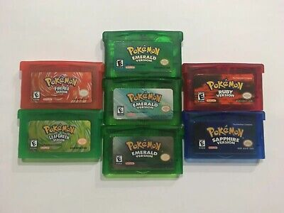 Pokemon Fire Red Leaf Green Emerald Ruby US Reproduction GBA Gameboy Advance