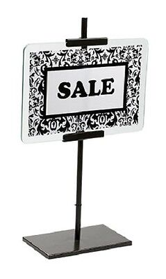 "2 Sign Holders 20"" H Fits 7"" x 11"" Signs Bronze Retail Store Sale Metal Glass"
