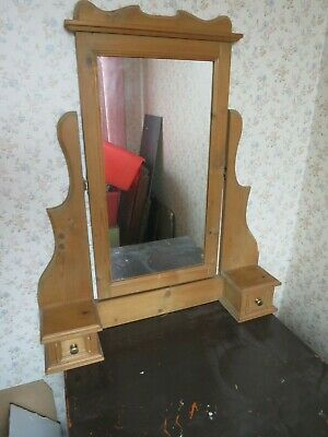 Reproduction 1980's Solid Pine Dressing Table Vanity Mirror With Drawers