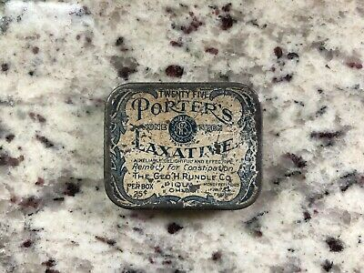 Porters Laxative tin Antique remedy mfg by Rundle Piqua Ohio apothecary medical