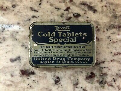 Rexall Cold Tablets United Drug Antique Small Size apothecary tablet medical tin
